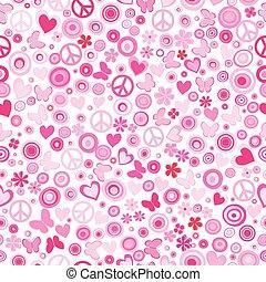 ピンクの花, 力, seamless, 背景