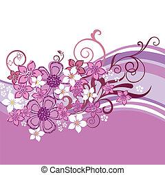 ピンクの花, 旗, 隔離された