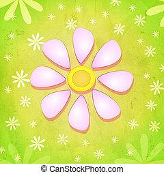 ピンクの花, 春, 上に, 緑の背景, 白い花