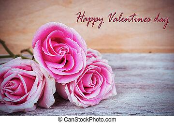 ピンクの花, 木製である, テキスト, バレンタイン, 背景, バラ, 日