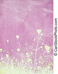 ピンクの花, 牧草地, 背景