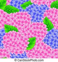 ピンクの花, 紫色, アジサイ, seamless, イラスト, バックグラウンド。, ベクトル