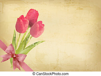 ピンクの花, 贈り物, 型, bow., ベクトル, イラスト, 背景, 休日