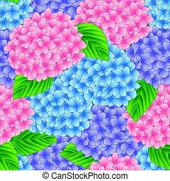 ピンクの花, 青, 紫色, アジサイ, seamless, イラスト, バックグラウンド。, ベクトル