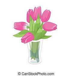 ピンクの花, illustration., ガラス, 花束, チューリップ, つぼ, バックグラウンド。, ベクトル, 春, 白