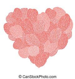 ピンクの花, petals., ベクトル, 背景, illustranion