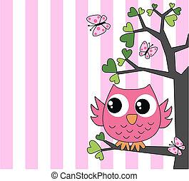 ピンク, かわいい, わずかしか, フクロウ