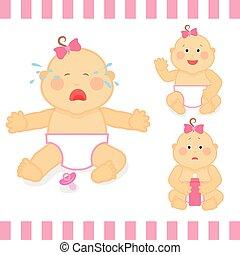 ピンク, かわいい, イラスト, 赤ん坊, ベクトル, 小さい, 女の子, 漫画