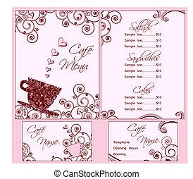 ピンク, かわいい, ビジネス, 両方とも, メニュー, 背中, カフェ, テンプレート, カード, front.