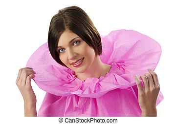 ピンク, かわいい, ブルネット, cloack