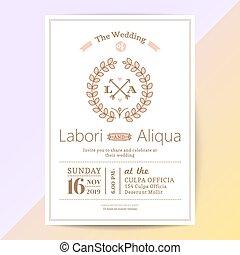 ピンク, かわいい, 花, 花輪, 招待, 結婚式, カード