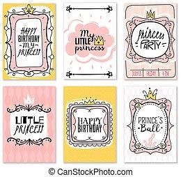 ピンク, かわいい, 金のカード, 型, フレーム, 挨拶, birthday, シャワー, 王冠, 装飾, ベクトル, 招待, 女の赤ん坊, 王女, カード, カード。