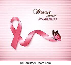 ピンク, がん, ベクトル, 胸, 背景, リボン, butterfly.