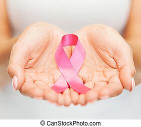 ピンク, がん, 認識, 胸, 手を持つ, リボン
