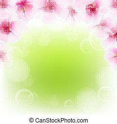 ピンク, さくらんぼ, 花, ボーダー, ぼやけ