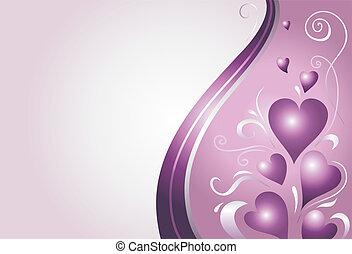 ピンク, すみれ, カード, バレンタイン