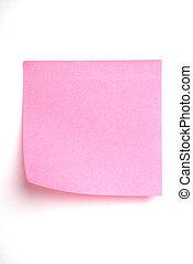 ピンク, それ, 隔離された, メモ, ポスト, 白