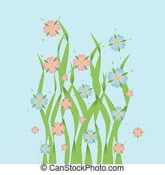 ピンク, と青, 花, 中に, 草