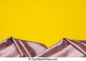 ピンク, に対して, 背景, コピー, 黄色, スペース, 生地, 絹