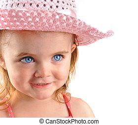 ピンク, わずかしか, クローズアップ, 白い帽子, 女の子