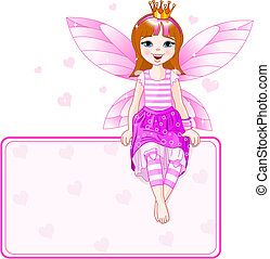ピンク, わずかしか, 場所, 妖精, カード