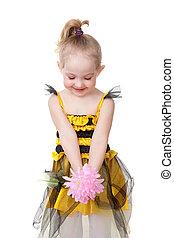 ピンク, わずかしか, 花, 蜂, 保有物, 女の子, 服, 幸せ