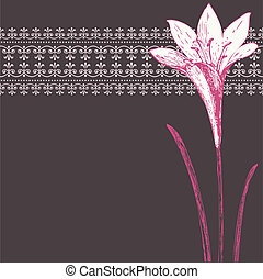 ピンク, アイリス, パターン, フレーム, 装飾, 暗い, ベクトル