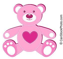 ピンク, アップリケ, bear.