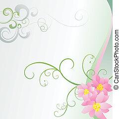 ピンク, イメージ, ベクトル, 背景, 白い花