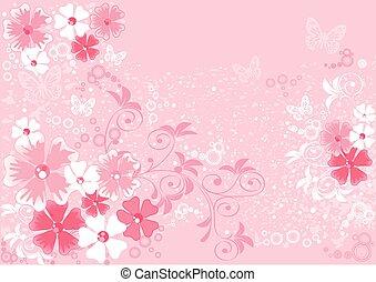 ピンク, イラスト, sakura, 花