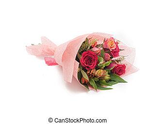 ピンク, カラフルである, 花束, 甘い, ばら, 小さい