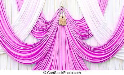 ピンク, カーテン, 白, ステージ