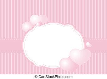 ピンク, カード, 挨拶, 背景