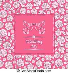 ピンク, カード, 日, 背景, 結婚式