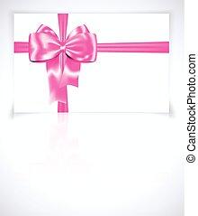 ピンク, ギフトカード, リボン