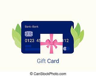 ピンク, ギフトカード, bow., プレゼント, 銀行, リボン