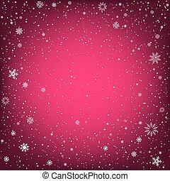 ピンク, クリスマス, 背景, 雪