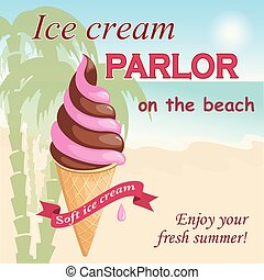ピンク, クリーム, 浜, 氷, チョコレート
