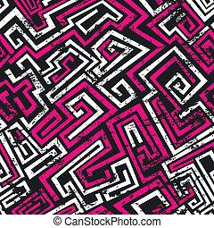 ピンク, グランジ, パターン, 抽象的, seamless, 効果, 迷路