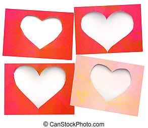 ピンク, グランジ, 引き裂かれたペーパー, 背景, 心, 穴, 赤