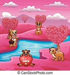 ピンク, グループ, 熊, 現場, 川岸