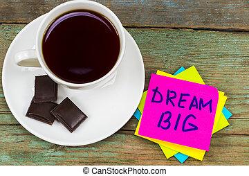 ピンク, コーヒーカップ, 大きい, -, 付せん, インスピレーションを与える, 手書き, チョコレート, 夢