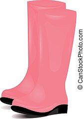 ピンク, ゴム, 庭, boots., シンボル, 隔離された, 雨, ∥あるいは∥, 秋, バックグラウンド。, ベクトル, イラスト, 中華なべ, 対, 白, weather.