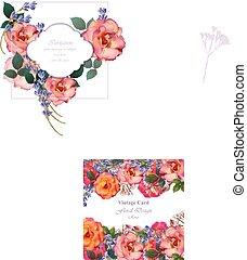 ピンク, サクラソウ, flowers., ラベンダー, 招待, ばら, 色, vector., 結婚式, カード