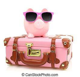 ピンク, サングラス, 隔離された, 小豚, スーツケース, 銀行