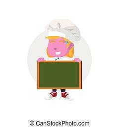 ピンク, シェフ, 板, 保有物, ブランク, 女の子