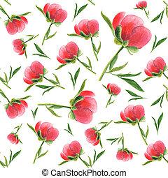 ピンク, シャクヤク, パターン, seamless, 水彩画, バックグラウンド。, 白, つぼみ