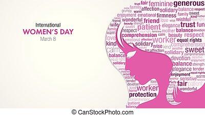 ピンク, シルエット, タイトル, イメージ, 女性, 中, 女性, バックグラウンド。, 色, ベクトル, 言葉, すみれ, インターナショナル, 白い額面, 日, 雲