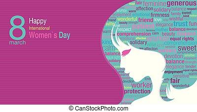 ピンク, シルエット, 青, タイトル, 紫色, 中, 女性, 女性, インターナショナル, 色, 背景, すみれ, 緑, 顔, 言葉, 日, 雲