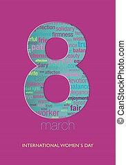 ピンク, シルエット, 青, タイトル, 紫色, 中, 数, 女性, インターナショナル, 色, 8, 背景, すみれ, 緑, 言葉, 日, 雲